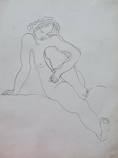 Béla KADAR - Disegno Acquarello - Seated Nude