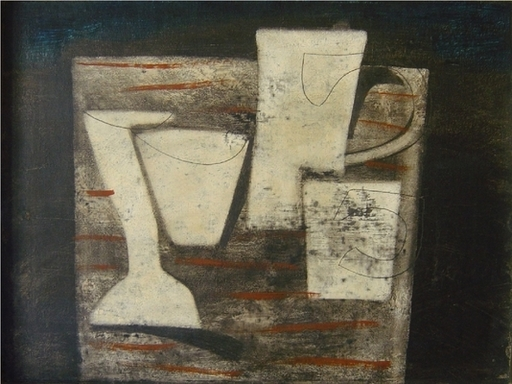 Ben NICHOLSON - Painting - May 1955 (Carved Forms and Indigo), 1955