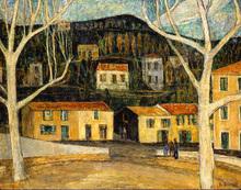 Auguste DUREL - Painting - La plce de Mandelieu (N°61)