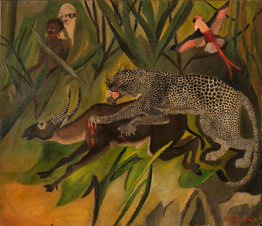 Antonio LIGABUE - Peinture - Caccia grossa (Foresta-Ligabue esploratore)