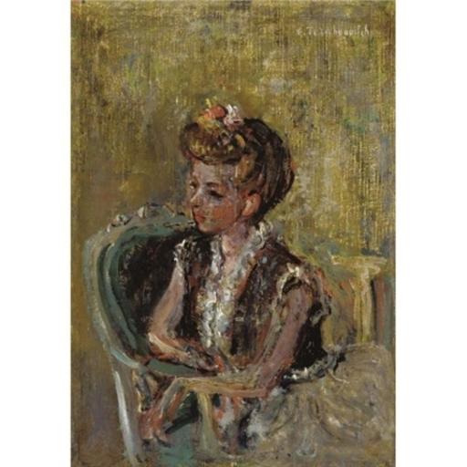Constantin Andréevitch TERECHKOVITCH - Peinture - Portrait of the Artist's Wife