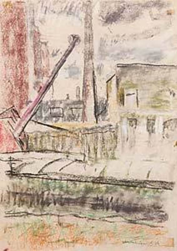 Willy EISENSCHITZ - Dibujo Acuarela - An einem Pariser Kanal