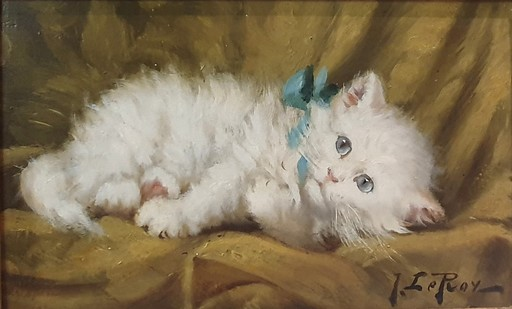 "Jules Gustave LE ROY - Pintura - ""LE CHATON BLANC"""