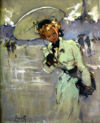 Pierre GRISOT - Painting - Jeune femme au parapluie
