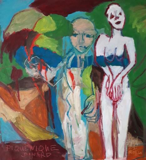 Bernard MOREL - Peinture - PEINTRE ET MODELE.PIQUE NIQUE.DINARD.