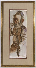 Chaim GROSS - Drawing-Watercolor - Fiddler, Watercolor, late 20th Century
