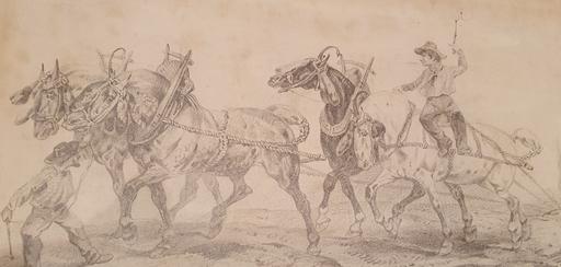 Victor ADAM - Dessin-Aquarelle - Riders and Horses