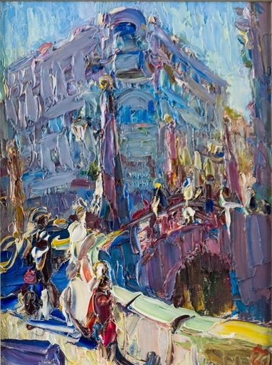 Olga Mikhailovna DUSHECHKINA - Painting - St. Petersburg. Red Bridge