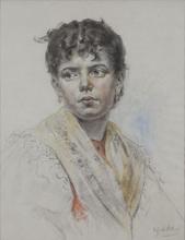 """Eugen Alfons VON BLAAS - Dibujo Acuarela - """"Portrait eines venezianischen Mädchens"""""""