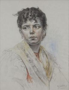 """Eugen Alfons VON BLAAS - Dessin-Aquarelle - """"Portrait eines venezianischen Mädchens"""""""