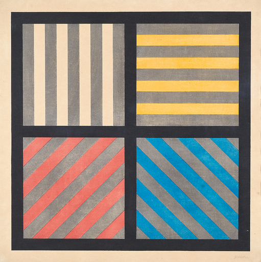 Sol LEWITT - Estampe-Multiple - Lines in Four Directions, With Alternating Color and Gray Ba