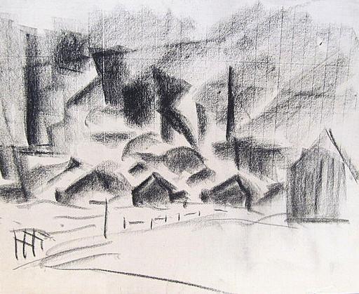 Friedrich EINHOFF - Drawing-Watercolor - #20015: Industrielandschaft.