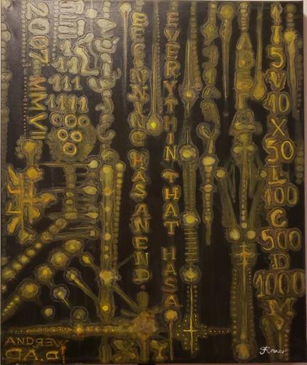 Romeo DOBROTA - Painting - Matrix, Binary and Roman Numbers,