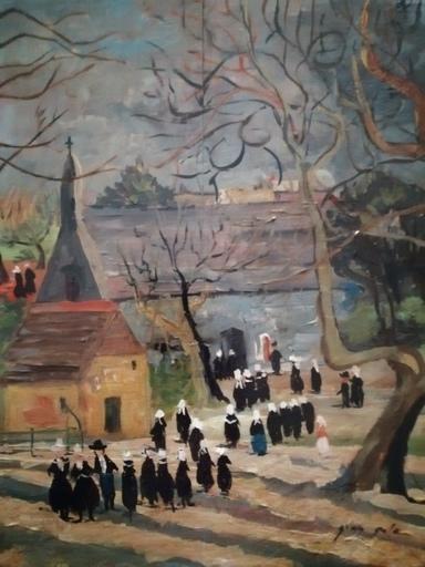 Emilio GRAU-SALA - 绘画 - Sortie de la messe à Port-Manec'h - Bretagne