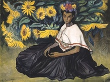 Diego RIVERA - Drawing-Watercolor - Mujer con girasoles