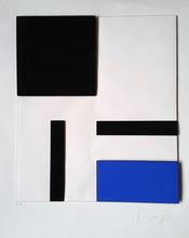 Gottfried HONEGGER - Grabado - Composition géométrique 3D (bleu, noir)
