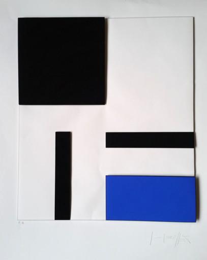 Gottfried HONEGGER - Print-Multiple - Composition géométrique 3D (bleu, noir)