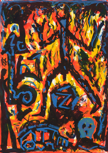 A.R. PENCK - Estampe-Multiple - Flammen (Flames)