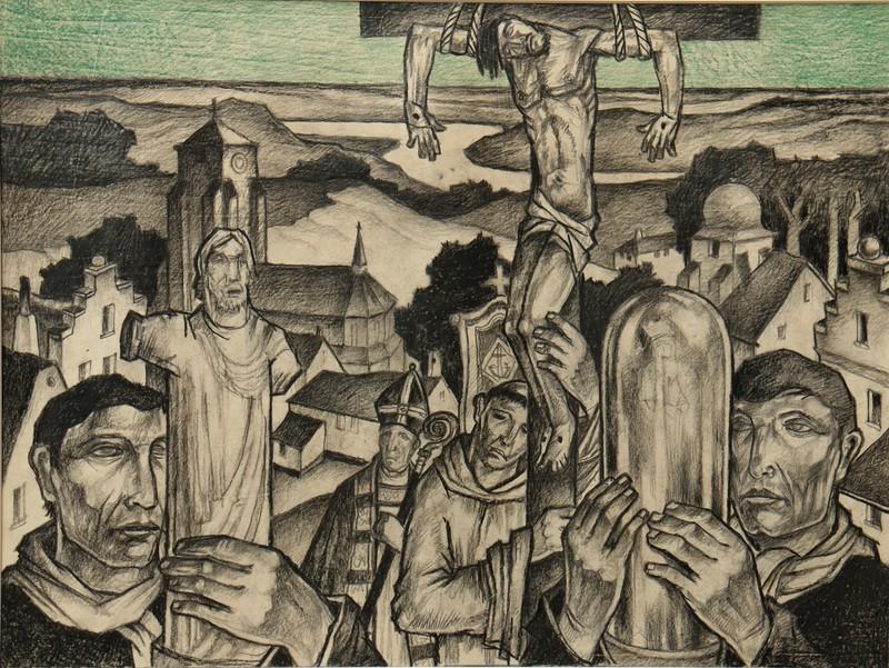 """Raymond DIERICKX - Drawing-Watercolor - """"PROCESSION DANS LA VIEILLE VILLE"""""""
