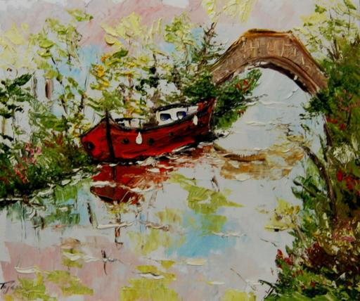 Serge Louis TUQUET - Drawing-Watercolor - Canal du midi, pont des ânes
