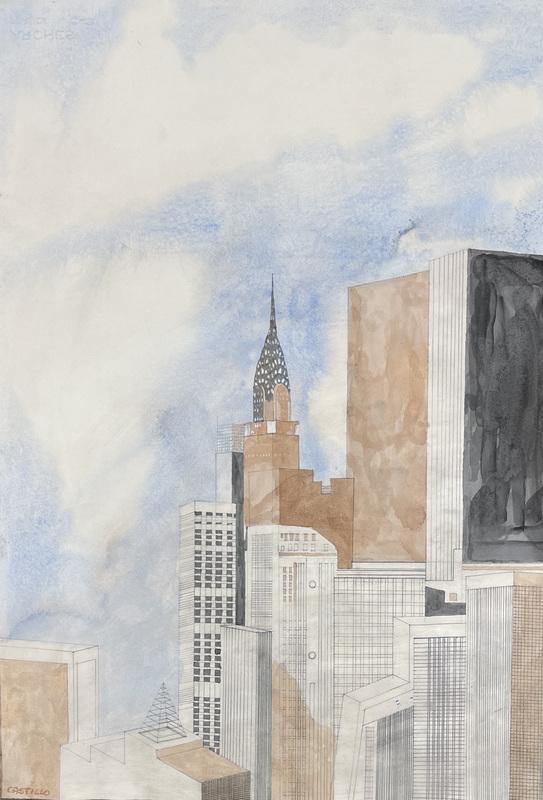 Jorge CASTILLO - Drawing-Watercolor - Belleza de New York call Crisler