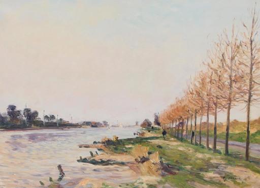 Gaston SEBIRE - Painting - Le canal Ouistréham