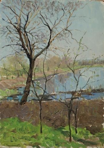 "Vladimir M. SINITSKI - Painting - ""Spring Motif"" by Vladimir Sinitski, ca 1950"