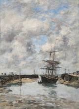 Eugène BOUDIN - Peinture - Trouville, Chenal marée basse