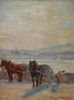 Lorand ZUBRICZKY - Pintura - Ouvriers terrassier et chevaux. Rade et ville de Genève