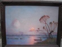 Ferdinand Loyen DU PUIGAUDEAU - Pintura - PAYSAGE EN BRIERE COUCHE DE SOLEIL BLEU ET JAUNE
