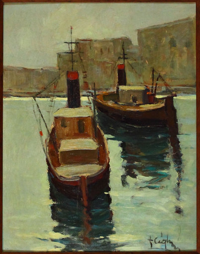 Franco CIGHERI - Pittura - Rimorchiatori nel porto