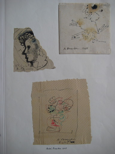 André BEAUDIN - Drawing-Watercolor - 3 DESSINS ENCRE 1945 SIGNÉS MAIN 3 HANDSIGNED DRAWINGS