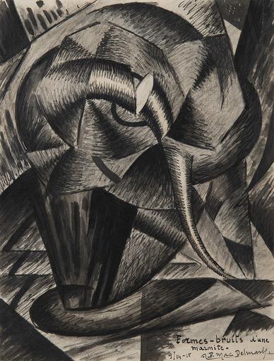 Félix Lucien Aimé DELMARLE - Drawing-Watercolor - Formes-bruits d'une marmite