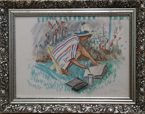 """Frederick SERGER - Drawing-Watercolor - """"In Plein Air"""" by Frederick Serger, 1950's"""