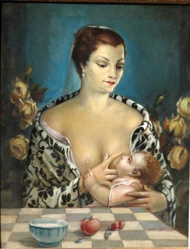 Ermès D'ODORICO - Pintura - MATERNITE SURREALISTE