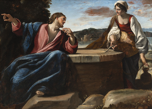 Giovanni LANFRANCO - Painting - Christ and the Samaritan woman at the well