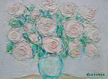 André COTTAVOZ (1922-2012) - les roses au pot bleu
