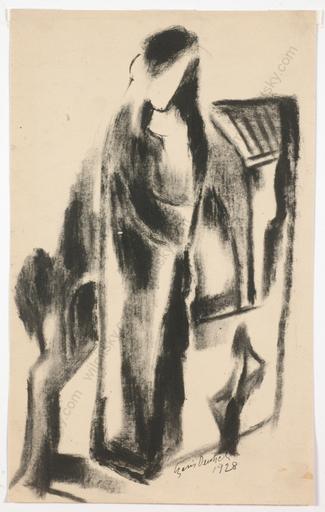 "Boris DEUTSCH - Dessin-Aquarelle - ""Mother with little daughter"", smoke-black drawing"