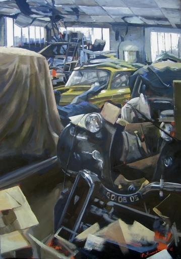 Christoff DEBUSSCHERE - Pintura - Le hangard à voiture