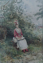 Lucius ROSSI - Drawing-Watercolor -  Pretty Woman in a Red & White Dress