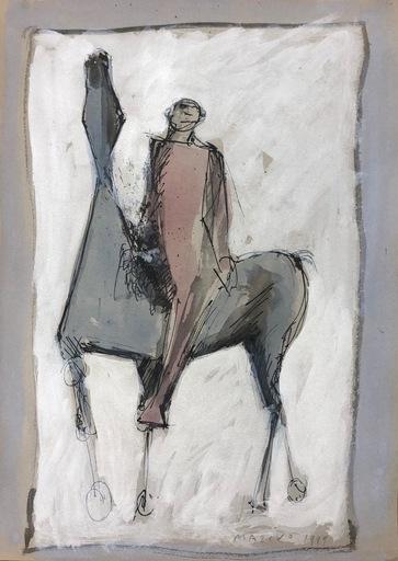 Marino MARINI - Dibujo Acuarela - Giocoliere e Cavallo