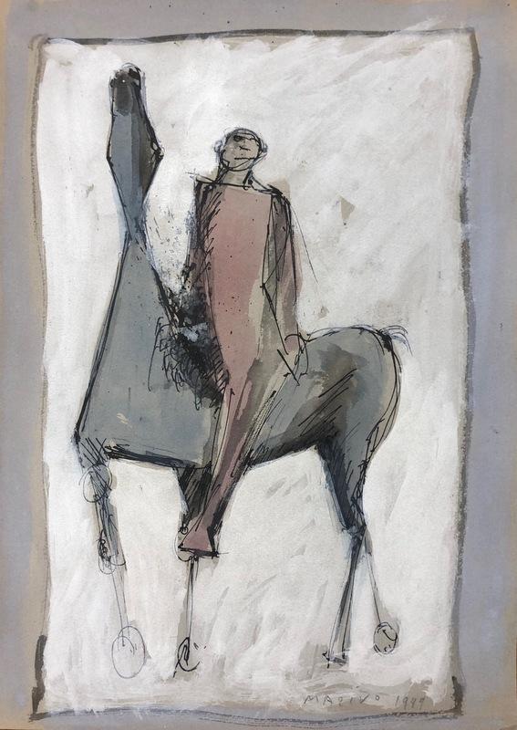 Marino MARINI - Drawing-Watercolor - Giocoliere e Cavallo