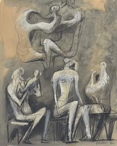 Henry MOORE - Drawing-Watercolor - Seated Figures (recto and verso)
