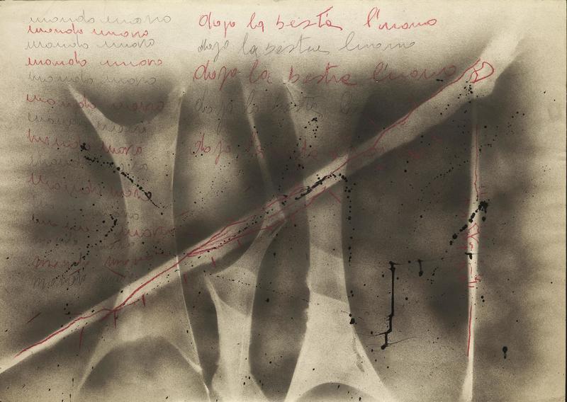 Franco ANGELI - Pintura - Mondo umano dopo la bestia l'uomo