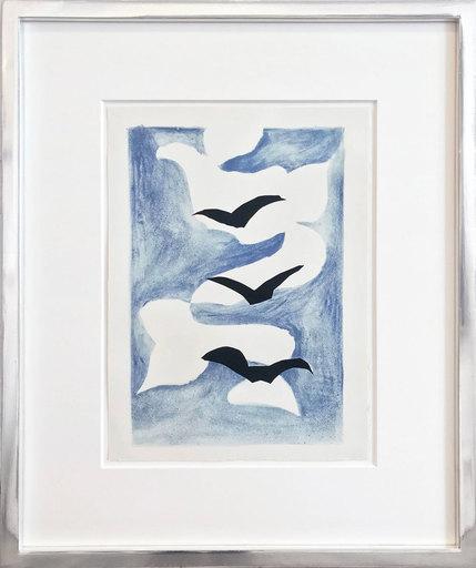 Georges BRAQUE - Grabado - Drei Vögel mit blauem Himmel