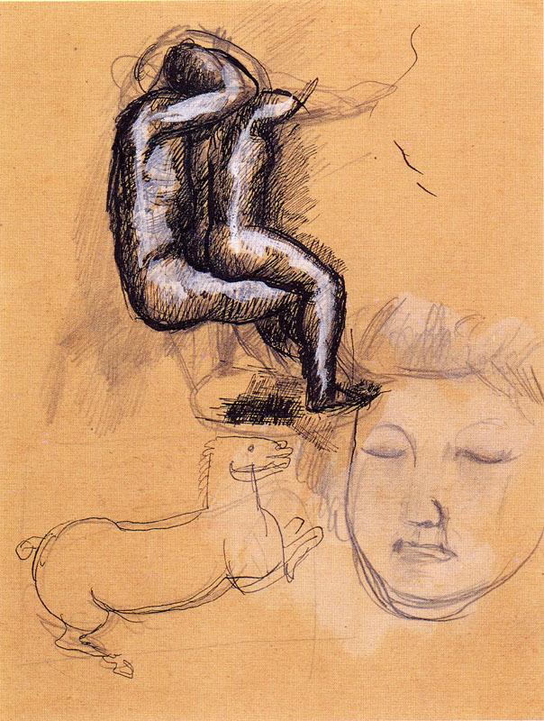 Marino MARINI - Drawing-Watercolor - STUDI DI FIGURE A CAVALLO