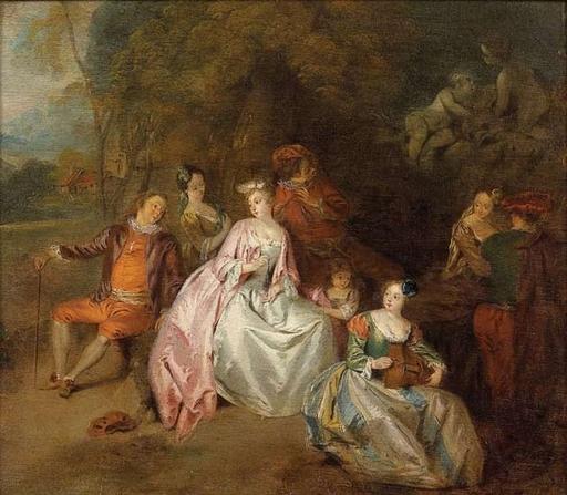 Jean-Baptiste François PATER - Painting - Scène galante dans un parc