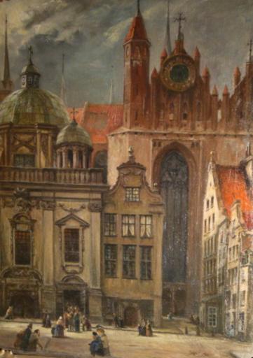 Hans LAASNER - Gemälde - Blick in die kleine Krämergasse Danzig