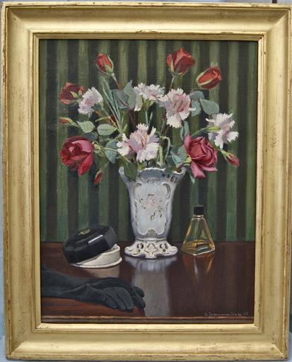 Roger Henri JEAN-MAIRET - Pintura - Roses rouge & oeillets blanc dans un vase.