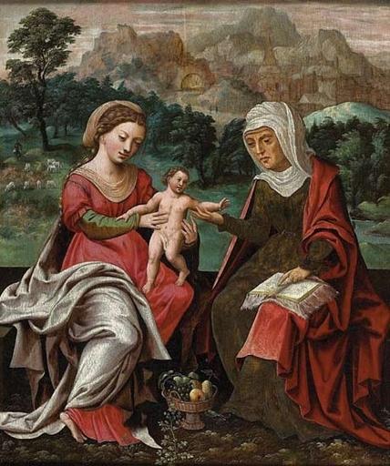 MASTER OF THE PARROT - Painting - La Vierge à l'enfant avec Sainte Anne